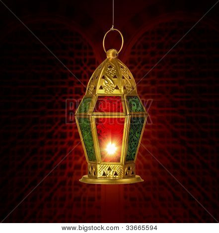 A Ramadan Greeting card template with traditional lamp
