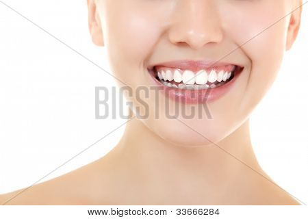 Beautiful smile of young fresh woman with healthy white teeth. Isolated over white background