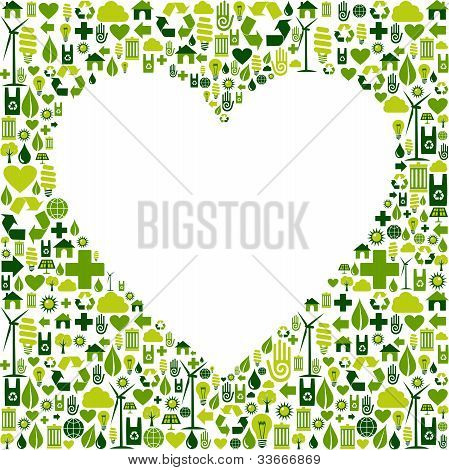 Green Environmnet Love Icon Set Background