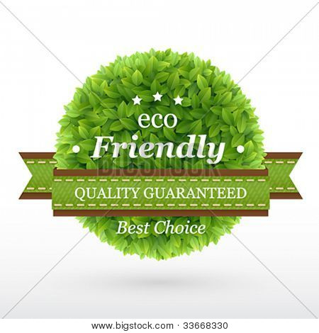 Eco Friendly label. Green leaves. Vector illustration.
