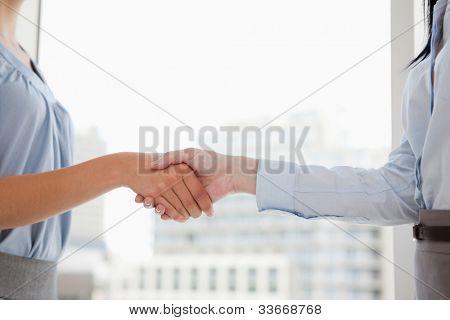 Dos mujeres en trajes de estrechar las manos de los demás