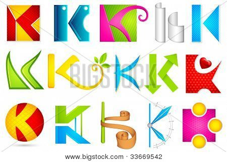 illustration of set of different colorful icon for alphabet K