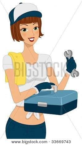 Illustration of a Girl Holding a Tool Kit
