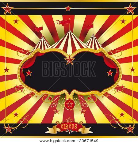 Red and yellow circus leaflet. A circus leaflet for the announcement of your show