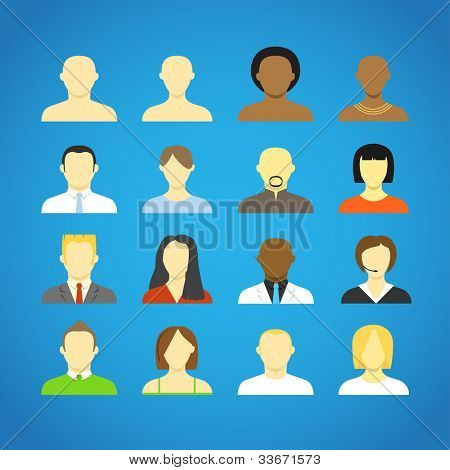 Collection of an account icons of men and women. Different nationalities