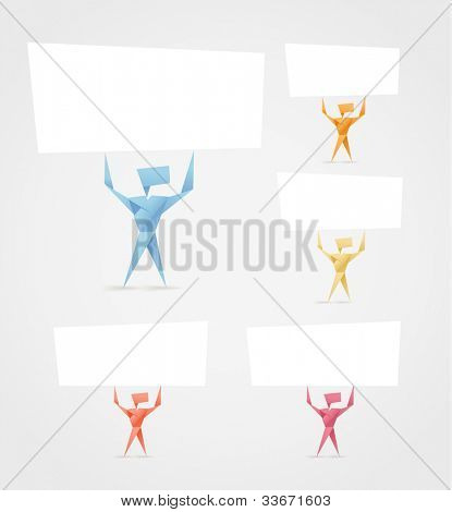 Abstract origami men with paper banners. Template for a text