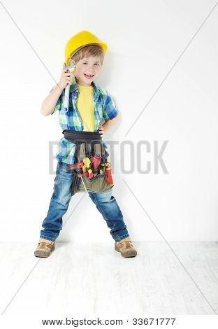 Little Boy Handyman With Helmet