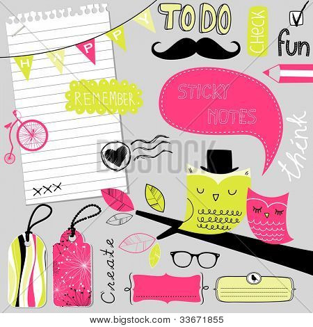 Cute scrapbook elements, sticky notes
