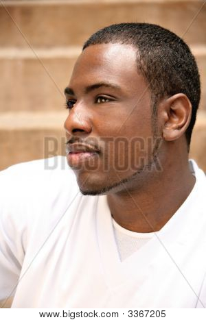 Handsome African American Man Wondering About His Future