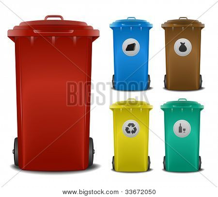 illustration recycling bins with different colors and symbols