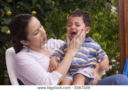 Boy Crying With Mom