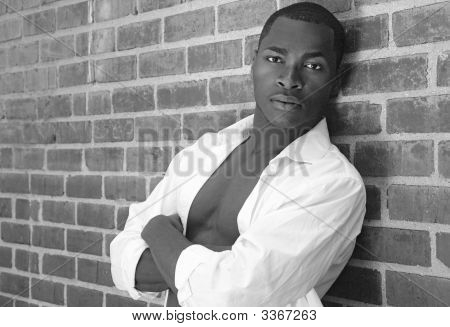 Portrait Of An Intense African American Male In Monochrome