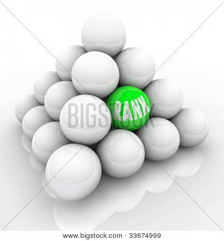 A single green ball marked Rank in the middle of many others to represent your ranking in relation and comparison to your competition or others in your market