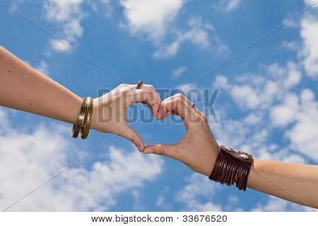 Hands as a hart shape on a cloudy sky - love concept