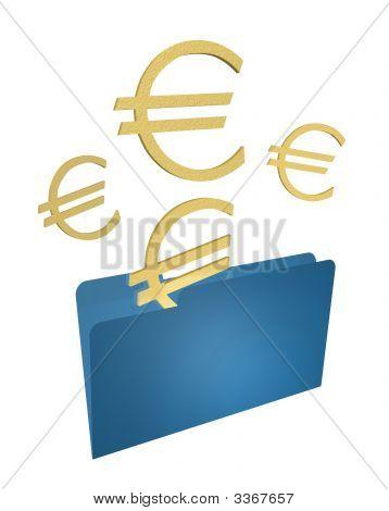 Gold Euros Blue Folder