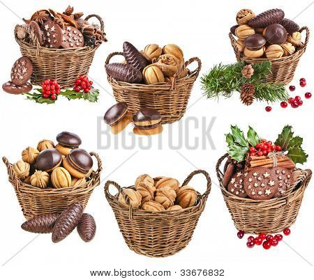 Collection of basket christmas cookies with forest berries on a white background
