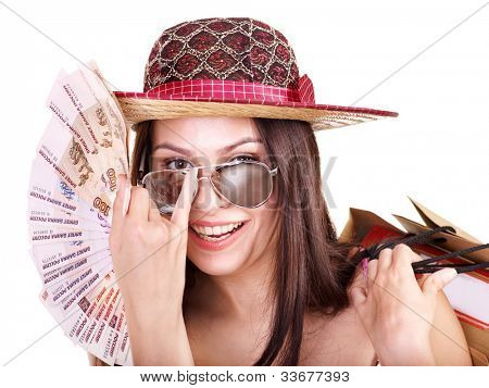 Woman with  money Russian rouble.