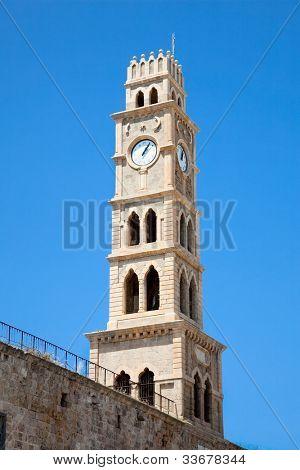 Old clock tower Akko , Ottoman landmark building - Han El-Umdan, Acre, Israel