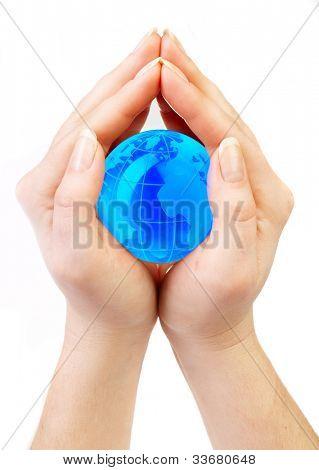 women holds globe in hands