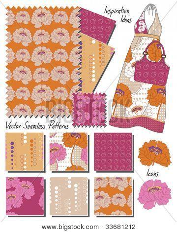 Moda Floral papoula padrões sem emenda de vetores.  Use para criar impressionantes têxteis ou use o sketch para