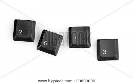 Keyboard keys saying 2013 isolated on white