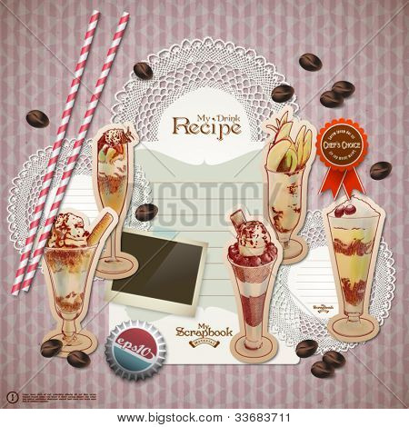 Vector Retro Scrapbook Element for Beverages Diary