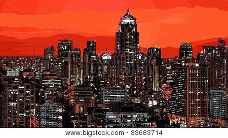 Illustration of a panoramic view of modern Bangkok