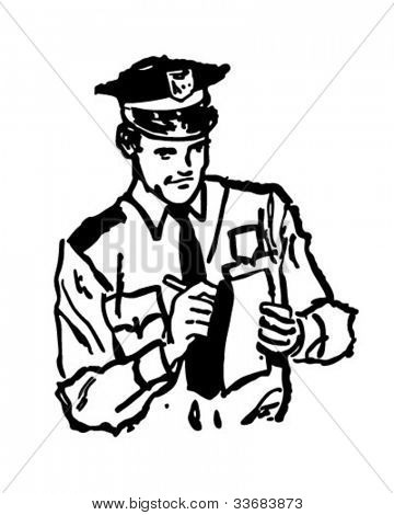 Policeman Writing Ticket - Retro Clipart Illustration