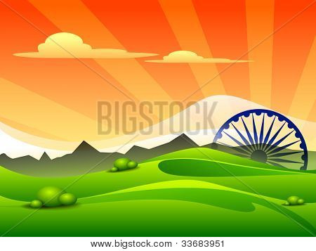 Indian tricolor flag Asoka wheel for Republic Day and Independence Day, Vector illustration. EPS 10.