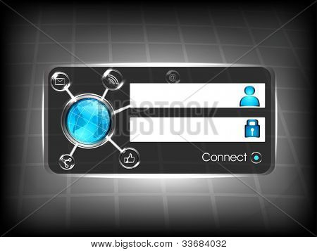 Social networking concept with log in screen. connect button and social networking icons.EPS 10.