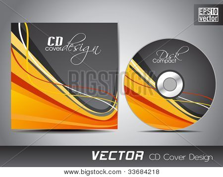 Vector CD cover in grey color with colorful wave pattern and space for your text. EPS 10. Vector illustration.
