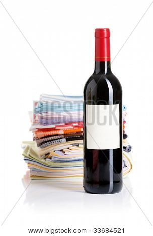 Bottle of red wine a serving table