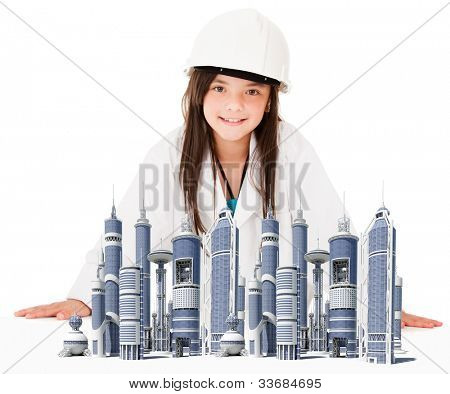 Girl playing to be an architect with the model of a city - isolated over white