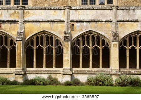 Arched Decorative Cloister Windows And Buttresses