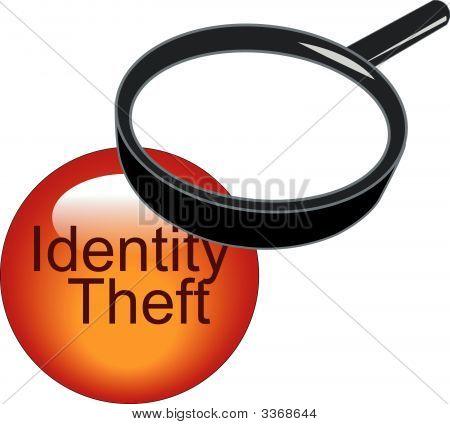 Lupa en botón de robo de identidad.