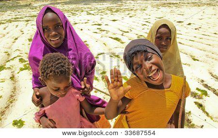 Girls On Beach In Zanzibar, Africa