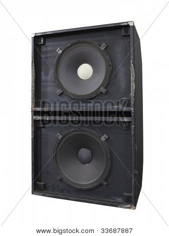 Big grungy bass blaster speaker box isolated on white