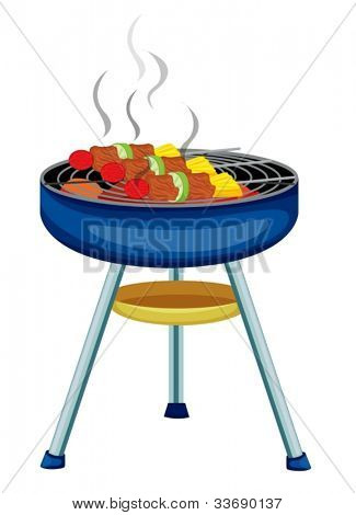 Illustration of skewers cooking on a bbq