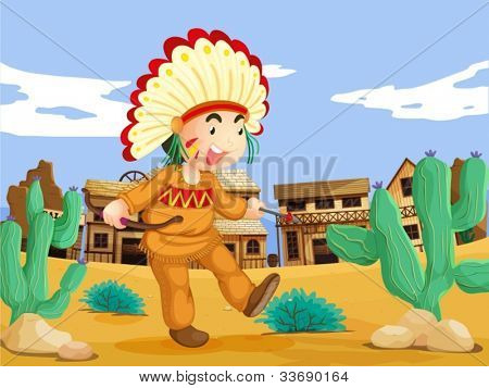 Illustration of an American Indian in the wild west
