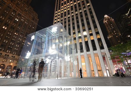 NEW YORK CITY - MAY 12: The flagship Apple Store May 12, 2012 in New York, New York. The cube glass entrance was designed by Bohlin Cywinski Jackson and has received numerous architectural awards.