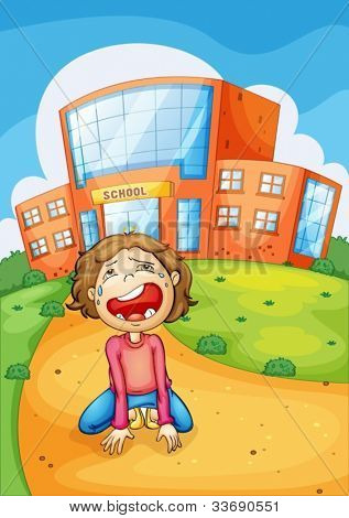 Illlustration of a girl crying at school