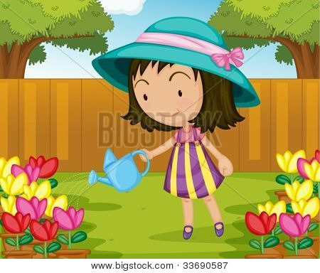 Illustration of girl watering plants