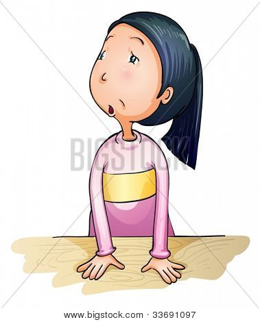 Illustration of worried and confused girl