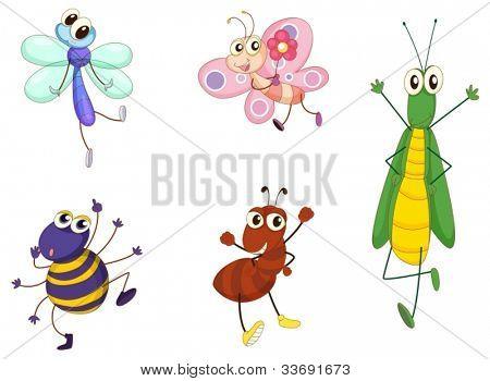 Illustration of small animals on white