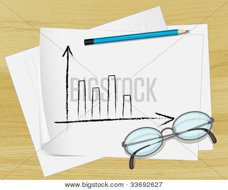 Ilustración de gafas, lápiz y notas sobre papel