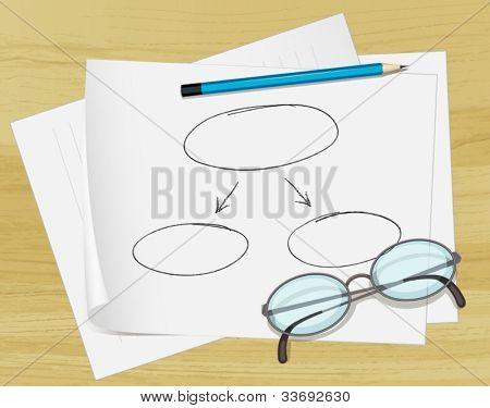 Abbildung der Brille, Bleistift und Notizen auf Papier