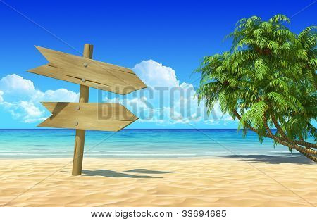 Empty wooden double signpost to place your logo, product or text. Palms on idyllic tropical sand beach. Clean, extremely detailed 3d render. Concept for rest, holidays, resort, spa background.