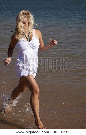 White Dress Run In Water