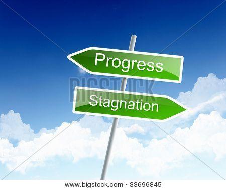 Dos señales de tráfico con palabras de negocios contra el cielo azul
