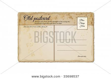Old, Vintage Post Card | Realistic Eps10 Vector Illustration | Layers Organized and Named